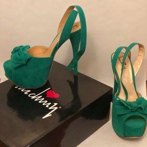 Green suede platform heels